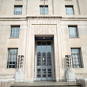One of the entrances to the Department of Justice Building on Constitution Avenue, Washington DC.
