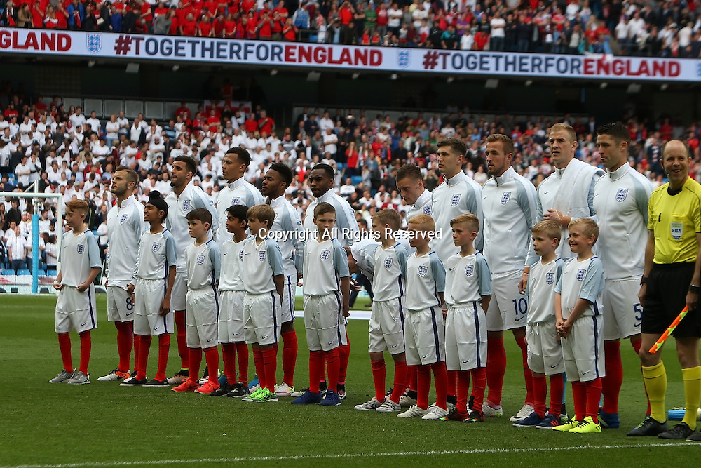 22.05.2016. Etihad Stadium, Manchester, England. International football friendly match, England versus Turkey. The England team line up for the National Anthem.