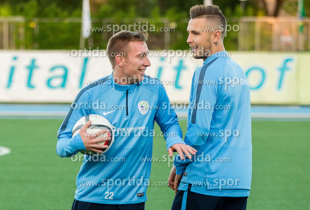 Robert Beric of Slovenia and Jasmin Kurtic of Slovenia during the practice session of Team Slovenia 1 day before EURO 2016 Qualifier Group E match between Slovenia and San Marino, on October 11, 2015 in Riccione, Italy. Photo by Vid Ponikvar / Sportida
