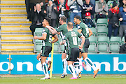 Plymouth Argyle's Curtis Nelson celebrates his equalising goal to make it 1-1 during the Sky Bet League 2 match between Plymouth Argyle and Oxford United at Home Park, Plymouth, England on 5 March 2016. Photo by Graham Hunt.