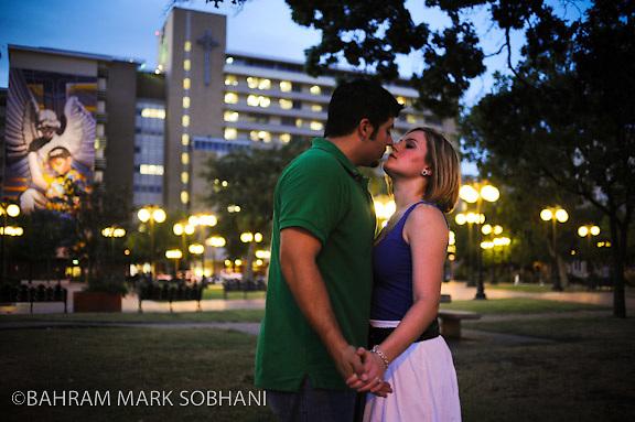 Jenna Roemer and Paul Maloy engagement photos. Downtown San Antonio Friday, July 17, 2009..Photo © Bahram Mark Sobhani