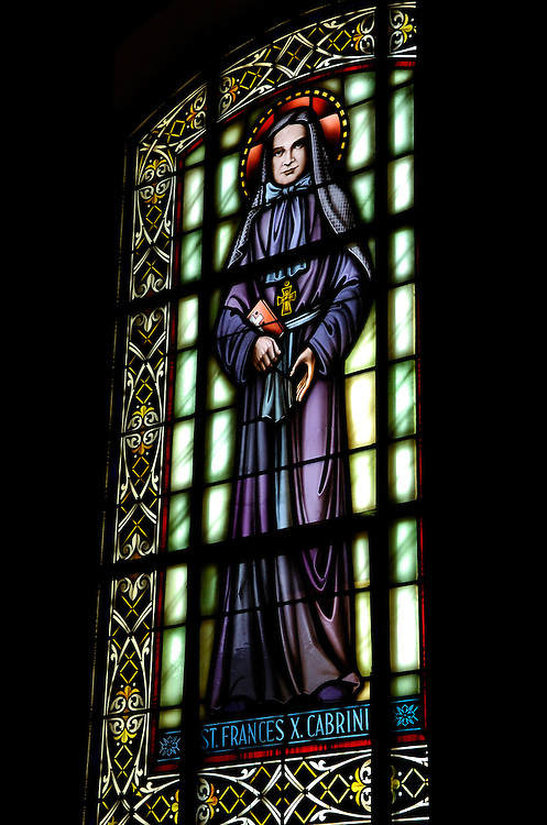 Stained glass window at St. John the Evangelist Cathedral in Milwaukee depicts St. Frances Cabrini. (Sam Lucero photo)