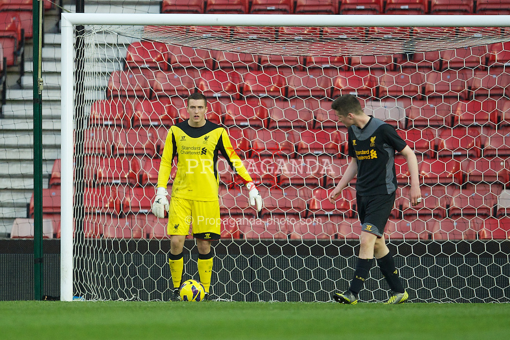 STOKE-ON-TRENT, ENGLAND - Wednesday, May 1, 2013: Liverpool's goalkeeper Ryan Fulton looks dejected as Stoke City score the fourth goal during the Premier League Academy match at the Britannia Stadium. (Pic by David Rawcliffe/Propaganda)