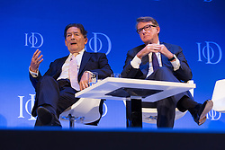 © Licensed to London News Pictures. 06/10/2015. London, UK. Labour politician, NIGEL LAWSON and PETER MANDELSON speaking at the Institute of Directors (IoD) Annual Convention 2015, held at the Royal Albert Hall in London. Photo credit : Vickie Flores/LNP