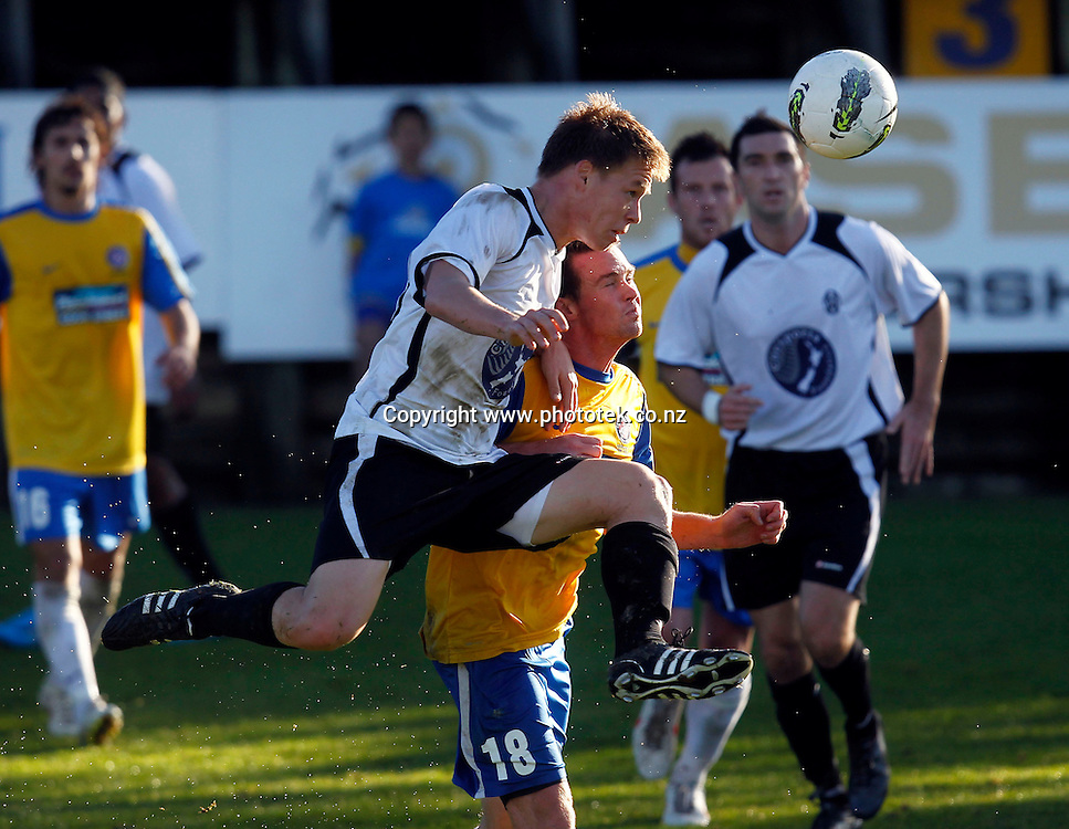 Waitakere's Jordan Vale gets to the ball ahead of Central's Adam McGeorge. 2012 Chatham Cup, Third Round, Central United v Waitakere City FC, Kiwitea Street Auckland, Sunday 24th June 2012. Photo: Shane Wenzlick