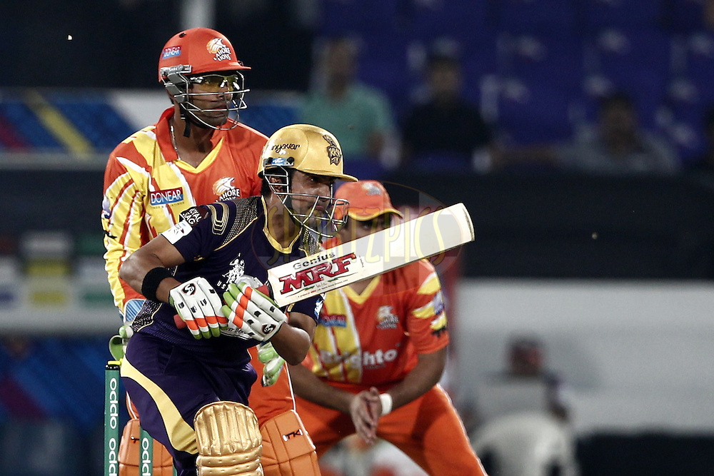 Gautam Gambhir captain of the Kolkata Knight Riders bats during match 7 of the Oppo Champions League Twenty20 between the Kolkata Knight Riders and the Lahore Lions held at the Rajiv Gandhi Cricket Stadium, Hyderabad, India on the 21st September 2014<br /> <br /> Photo by:  Deepak Malik / Sportzpics/ CLT20<br /> <br /> <br /> Image use is subject to the terms and conditions as laid out by the BCCI/ CLT20.  The terms and conditions can be downloaded here:<br /> <br /> http://sportzpics.photoshelter.com/gallery/CLT20-Image-Terms-and-Conditions-2014/G0000IfNJn535VPU/C0000QhhKadWcjYs