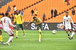 South Africa: Johannesburg: Bafana Bafana player Lebo Mothiba scores during a game against Seychelles during the Africa Cup Of Nations qualifiers at FNB stadium, Gauteng.<br />