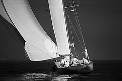 """September 2011 Monaco Classic Week Mariquita   Rowdy the NY40 Class boat.<br /> Class: New York 40<br /> Designer(s): Nathanael Greene Herreshoff<br /> Type of Boat: NY40 Bermudan Cutter<br /> Year Built: 1916<br /> LOA m / ft: 19.8m   /   65'<br /> LOD m / ft: 17.98m   /   59'<br /> LWL m / ft: 12.2m   /   40'<br /> Beam m / ft: 4.35m   /   14'3""""<br /> Draft m / ft: 2.4m   /   8'<br /> Sail Stats: Sail No: NY45"""