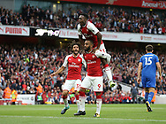 Arsenal's Alexandre Lacazette celebrates scoring his sides opening goal during the premier league match at the Emirates Stadium, London. Picture date 11th August 2017. Picture credit should read: David Klein/Sportimage