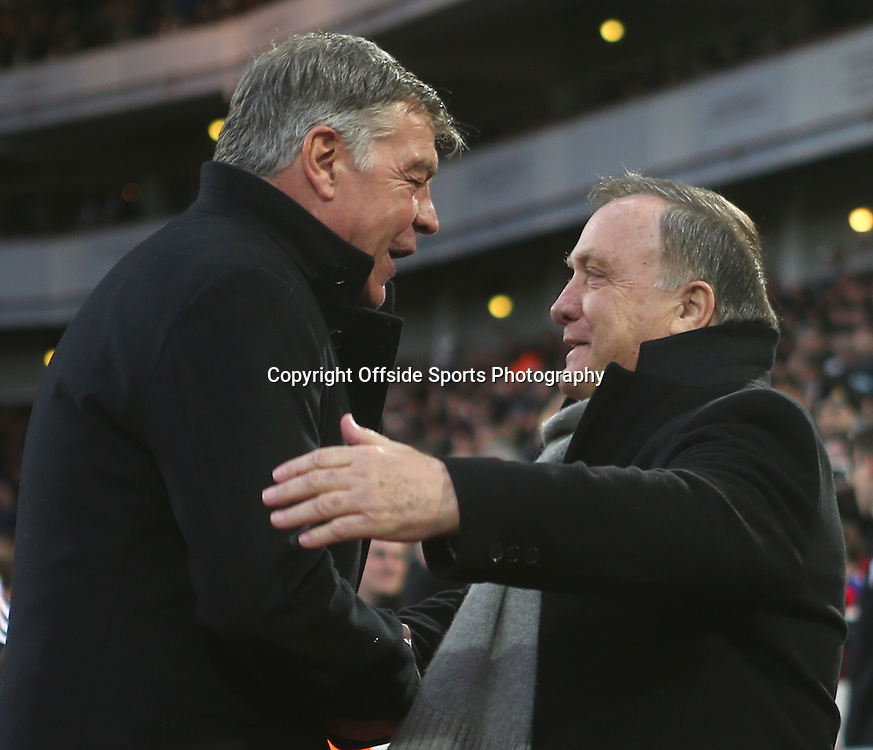 21 March 2015 - Barclays Premier League - West Ham United v Sunderland - New Sunderland manager Dick Advocaat shakes hands with West Ham manager Sam Allardyce.<br /> <br /> Photo: Ryan Smyth/Offside