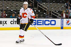 Feb 8, 2012; San Jose, CA, USA; Calgary Flames defenseman Cory Sarich (6) warms up before the game against the San Jose Sharks at HP Pavilion. Calgary defeated San Jose 4-3. Mandatory Credit: Jason O. Watson-US PRESSWIRE