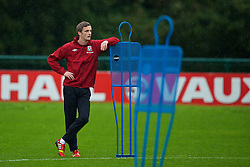 CARDIFF, WALES - Sunday, October 13, 2013: Wales' Andy King during a training session at the Vale of Glamorgan ahead of the 2014 FIFA World Cup Brazil Qualifying Group A match against Belgium. (Pic by David Rawcliffe/Propaganda)