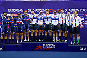 Podium Men Team Sprint, Netherlands, HOOGLAND Jeffrey, LAVREYSEN Harrie, VAN DEN BERG Roy, VAN T H N (Gold medal), France , VIGIER Sébastien, PERVIS Francois, LAFARGUE Quentin, D'ALMEIDA Michael (Silver medal), Germany, BOTTICHER Stefan, EILERS Joachim, BICHLER Timo (Bronze medal), during the UEC Track Cycling European Championships Glasgow 2018, at Sir Chris Hoy Velodrome, in Glasgow, Great Britain, Day 2, on August 3, 2018 - Photo Luca Bettini / BettiniPhoto / ProSportsImages / DPPI - Belgium out, Spain out, Italy out, Netherlands out -
