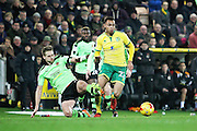 Norwich City midfielder Jacob Murphy is fouled by Wolverhampton Wanderers midfielder Dave Edwards (4) during the EFL Sky Bet Championship match between Norwich City and Wolverhampton Wanderers at Carrow Road, Norwich, England on 21 January 2017. Photo by Nigel Cole.
