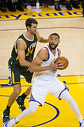 Golden State Warriors center JaVale McGee (1) makes a move in the post against the Utah Jazz at Oracle Arena in Oakland, Calif., on December 20, 2016. (Stan Olszewski/Special to S.F. Examiner)