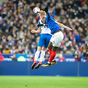 PARIS, FRANCE - March 25:  Paul Pogba #6 of France and  Hordur Bjorgvin Magnusson #18 of Iceland challenge for the ball during the France V Iceland, 2020 European Championship Qualifying, Group Stage at  Stade de France on March 25th 2019 in Paris, France (Photo by Tim Clayton/Corbis via Getty Images)