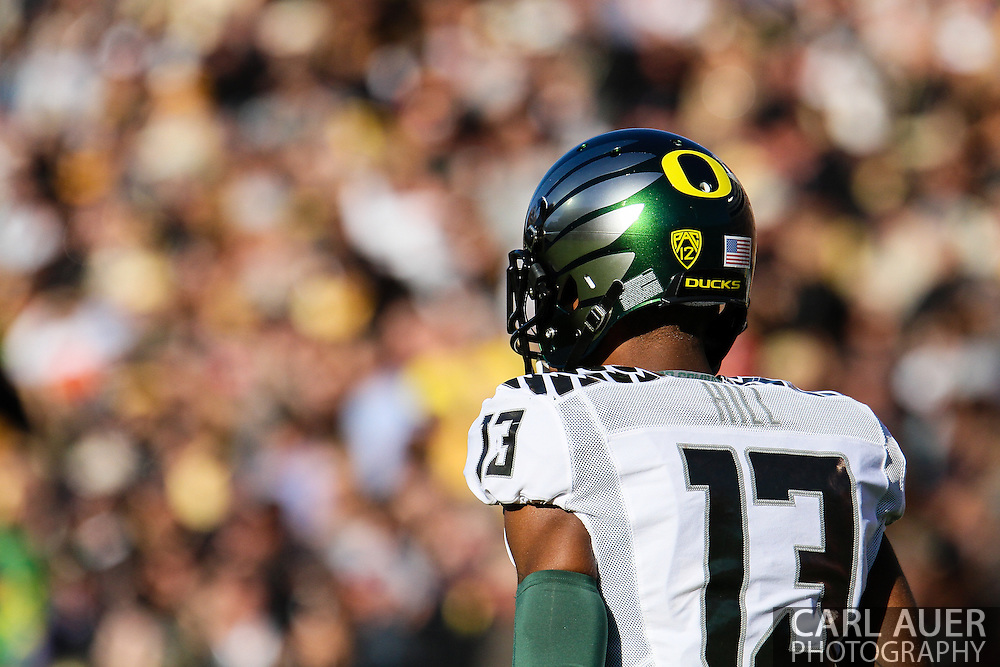October 5th, 2013:  University of Oregon Ducks freshman University of Oregon Ducks junior defensive back Troy Hill (13) waits for the kick off in the first quarter of the NCAA football game between the University of Oregon Ducks and the Colorado Buffaloes at Folsom Field in Boulder, Colorado