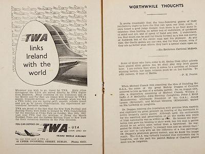 All Ireland Senior Hurling Championship Final,.Programme,.07.09.1952, 09.07.1952, 7th September 1952, .Cork 2-14, Dublin 0-7,.Minor Dublin v Tipperary,.Senior Cork v Dublin, .Croke Park, ..Advertisements, TWA Trans World Airlines, ..Articles, Worthwhile Thoughts,
