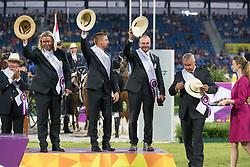Team Hungary, Dobrovitz Jozsef, Dobrovitz Jozsef Jr, Lazar Zoltan<br /> Driving competition Prizegiving<br /> European Championships - Aachen 2015<br /> © Hippo Foto - Dirk Caremans<br /> 22/08/15