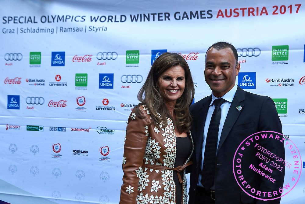 (R) Cafu and (L) Maria Shriver pose to picture while Austria 2017 Reception during third day of the Special Olympics World Games Los Angeles 2015 on July 27, 2015 in Los Angeles, USA.<br /> USA, Los Angeles, July 27, 2015<br /> <br /> Picture also available in RAW (NEF) or TIFF format on special request.<br /> <br /> For editorial use only. Any commercial or promotional use requires permission.<br /> <br /> Adam Nurkiewicz declares that he has no rights to the image of people at the photographs of his authorship.<br /> <br /> Mandatory credit:<br /> Photo by &copy; Adam Nurkiewicz / Mediasport