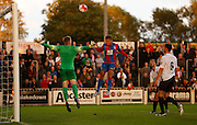 Dwight Gayle with a headed chance during the Pre-Season Friendly match between Bromley and Crystal Palace at the Courage Stadium, Bromley, United Kingdom on 30 July 2015. Photo by Michael Hulf.