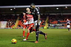 Bristol City Midfielder Jay Emmanuel-Thomas (ENG) is challenged by Leyton Orient Defender Scott Cuthbert (SCO) - Photo mandatory by-line: Rogan Thomson/JMP - 07966 386802 - 11/02/2014 - SPORT - FOOTBALL - The Matchroom Stadium, London - Leyton Orient v Bristol City - Sky Bet Football League 1.- Photo mandatory by-line: Rogan Thomson/JMP - 07966 386802 - 11/02/2014 - SPORT - FOOTBALL - The Matchroom Stadium, London - Leyton Orient v Bristol City - Sky Bet Football League 1.
