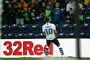 Preston North End midfielder Josh Harrop (10) celebrates his goal 3-0 during the EFL Sky Bet Championship match between Preston North End and Stoke City at Deepdale, Preston, England on 21 August 2019.