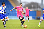 Hartlepool player Nathan Thomas looks fro space in the box in the first half during the EFL Sky Bet League 2 match between Colchester United and Hartlepool United at the Weston Homes Community Stadium, Colchester, England on 25 February 2017. Photo by Ian  Muir.