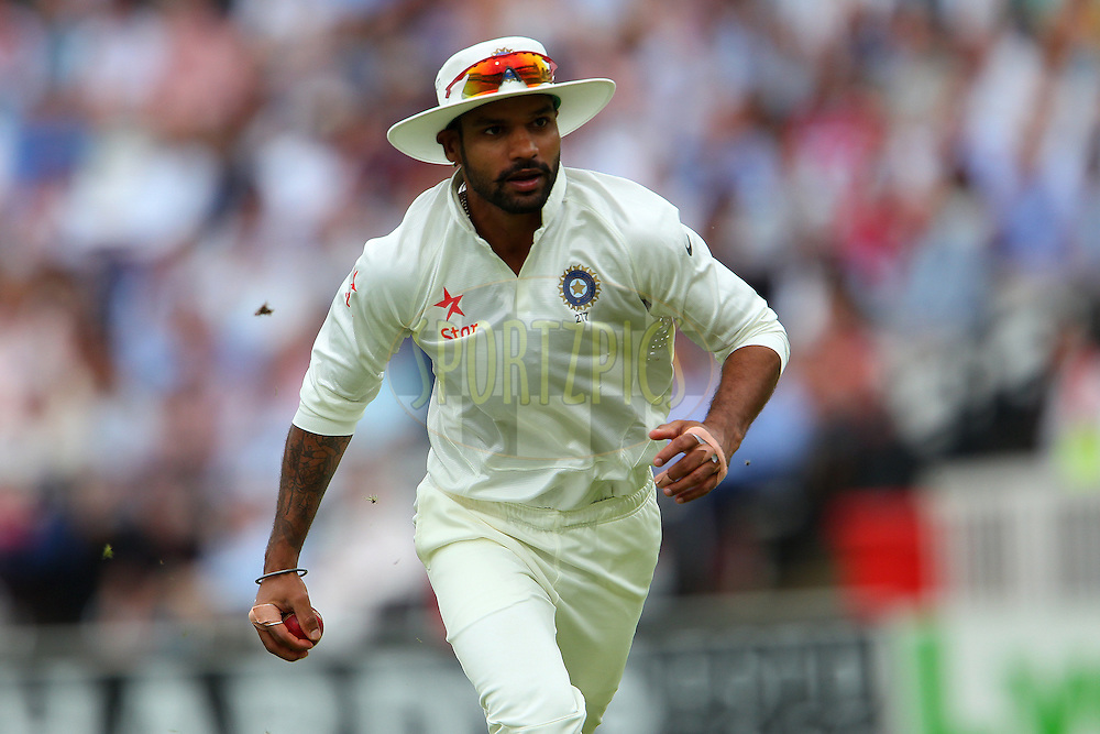 Shikhar Dhawan of India celebrates the wicket of Matt Prior of England during day three of the 2nd Investec test match between England and India held at Lords cricket ground in London, England on the 19th July 2014<br /> <br /> Photo by Ron Gaunt / SPORTZPICS/ BCCI