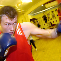 Scotland's new Heavyweight hope, IAN MILLARVIE trains at Blantyre Miners Welfare Gym ahead of his first Pro fight...Pic: Lenny Warren