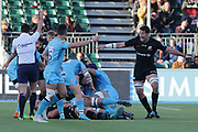 Saracens replacement lock Michael Rodes (21) pointing, directing, signalling for a foul  during the Premiership Rugby Cup match between Saracens and Worcester Warriors at Allianz Park, Hendon, United Kingdom on 11 November 2018.