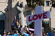 An estimated 20,000 people marched down Sixth Avenue in San Diego on November 15, 2008 to protest the passing of Proposition 8, which banned gay marriage in California.  The overwhelmingly peaceful event was the largest of several protests held nationwide, and culminated in a rally in front of the County Administration Building overlooking San Diego's waterfront.