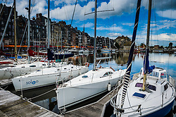 Pleasure craft in the harbour in Honfleur, Normandy, France
