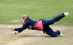 Danielle Hazell of England Women drops a catch off her own bowling - Mandatory by-line: Robbie Stephenson/JMP - 09/07/2017 - CRICKET - Bristol County Ground - Bristol, United Kingdom - England v Australia - ICC Women's World Cup match 19