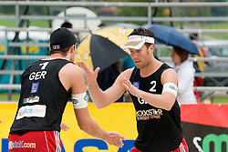 "Klemperer David ""Hase"" and Koreng Eric of Germany at CEV European Continental Beach Volleyball Cup for Olympic Qualification, on September 4, 2010, in Zrece, Slovenia. (Photo by Matic Klansek Velej / Sportida)."