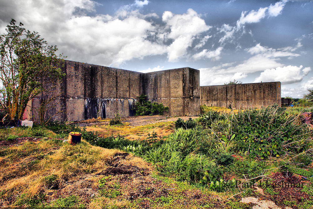 Blast walls which form the remains of a Thor Missile Launch silo which is one of three former silos located on the former RAF Harrington airfield. <br />