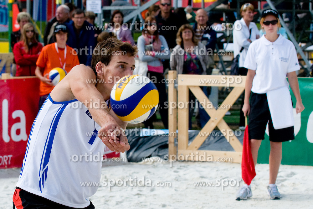 Nejc Zemljak of Slovenia receives a ball at CEV European Continental Beach Volleyball Cup for Olympic Qualification, on September 5, 2010, in Zrece, Slovenia. (Photo by Matic Klansek Velej / Sportida)