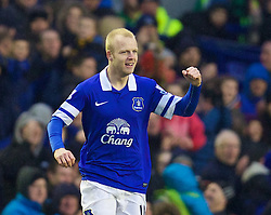 LIVERPOOL, ENGLAND - Saturday, February 1, 2014: Everton's Steven Naismith celebrates scoring the first goal against Aston Villa during the Premiership match at Goodison Park. (Pic by David Rawcliffe/Propaganda)