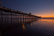 Sunset silhouette at San Clemente pier in San Clemente, CA