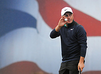Golf - 2018 Sky Sports British Masters - Thursday, First Round<br /> <br /> Francesco Molinari of Italy salutes the crowd after finishing his round at the 18th hole at Walton Heath Golf Club.<br /> <br /> COLORSPORT/ANDREW COWIE