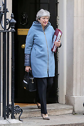© Licensed to London News Pictures. 01/01/2019. London, UK. Prime Minister Theresa May departs from Number 10 Downing Street to attend Prime Minister's Questions (PMQs) in the House of Commons.  Photo credit: Dinendra Haria/LNP