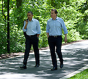 19.MAY.2012. MARYLAND<br /> <br /> PRESIDENT BARACK OBAMA AND PRIME MINISTER DAVID CAMERON OF THE UNITED KINGDOM TALK AS THEY WALK FROM ASPEN CABIN TO LAUREL CABIN DURING THE G8 SUMMIT AT CAMP DAVID, MARYLAND.<br /> <br /> BYLINE: EDBIMAGEARCHIVE.CO.UK<br /> <br /> *THIS IMAGE IS STRICTLY FOR UK NEWSPAPERS AND MAGAZINES ONLY*<br /> *FOR WORLD WIDE SALES AND WEB USE PLEASE CONTACT EDBIMAGEARCHIVE - 0208 954 5968*