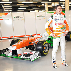 Paul Di Resta standing in front of this years VJM06 Sahara Force India F1 car. Unveiled at Silverstone Circuit, Northamptonshire, England on the 1st February 2013.  WAYNE NEAL | STOCKPIX.EU