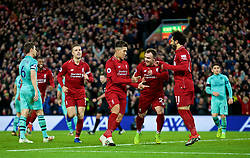 LIVERPOOL, ENGLAND - Saturday, December 29, 2018: Liverpool's Roberto Firmino (L) celebrates scoring the fifth goal, with team-mates Xherdan Shaqiri (C) and Mohamed Salah (R), completing his hat-trick, during the FA Premier League match between Liverpool FC and Arsenal FC at Anfield. (Pic by David Rawcliffe/Propaganda)