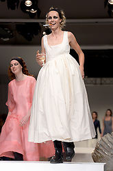 A model on the catwalk during the Molly Goddard London Fashion Week SS18 show held at the BFC Show Space, London. Photo credit should read: Doug Peters/EMPICS Entertainment
