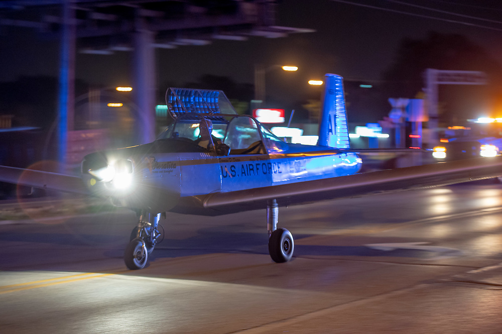 """June 2, 2018; Damian Dieter taxies his Varga Kachina aircraft through downtown South Bend while returning it to its hangar following a static display as part of the """"Best Week Ever"""" celebration. (Photo by Matt Cashore)"""