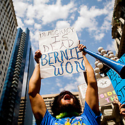 PHILADELPHIA, PA - JULY 25, 2016: Protesters demonstrate outside of Philadelphia City Hall in support of Democratic presidential candidate Bernie Sanders in Philadelphia, Pennsylvania.