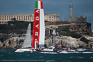 Luna Rossa Swordfish practice sailing on Saturday before her capsize.