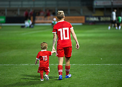 NEWPORT, WALES - Thursday, August 30, 2018: Wales' Jessica Fishlock and her nephew after the FIFA Women's World Cup 2019 Qualifying Round Group 1 match between Wales and England at Rodney Parade. (Pic by Laura Malkin/Propaganda)