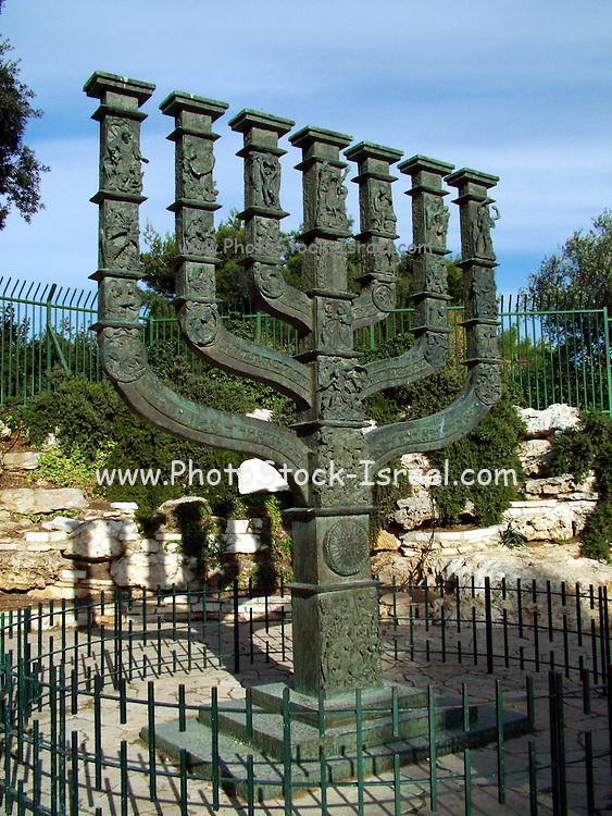 The menorah at the entrance to the Knesset, the Israeli parliament, Jerusalem, Israel
